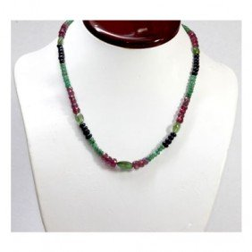 Natural 120.85 ctw Emerald Ruby Sapphire Bead Necklace