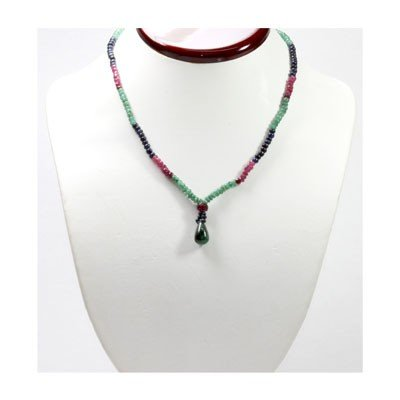 Natural 76.78 ctw Emerald Ruby Sapphire Bead Necklace