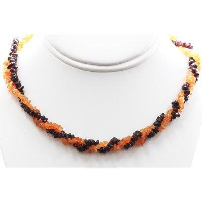 Mix Semi Precious Stone Double Twisted Design Necklace