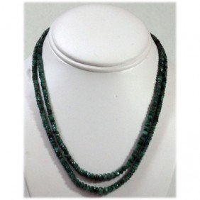 Natural 112.84ctw Emerald Round Beads 2 Rows Necklace