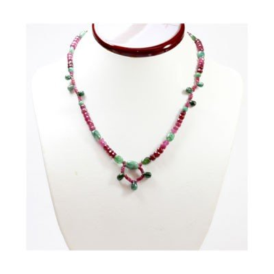 Natural  135.18 ctw Emerald  & Ruby Bead Necklace