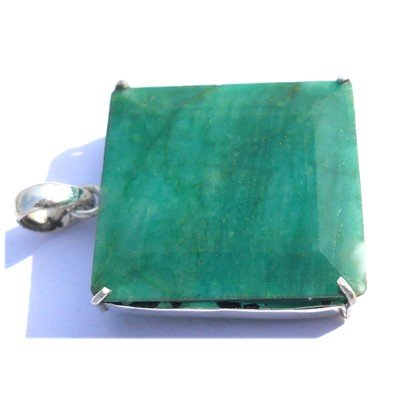Natural 82.55 ctw Emerald Square .925 Sterling Pendant