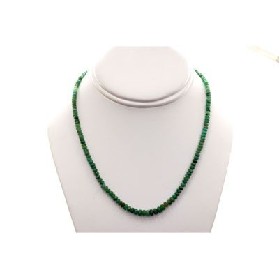 Natural Emerald Round  Beads 45.03 CTS. Necklace w/bras