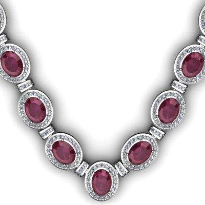 Certified 43.60 ctw Ruby& Diamond Necklace 18k 81 gram