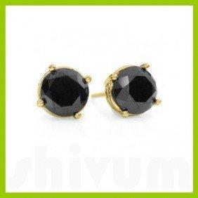 Natural 3.0 Ctw Black Diamond Stud Earrings 14kt