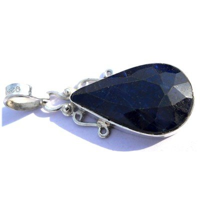 Natural 31.4 ctw Sapphire Pear .925 Sterling Pendant