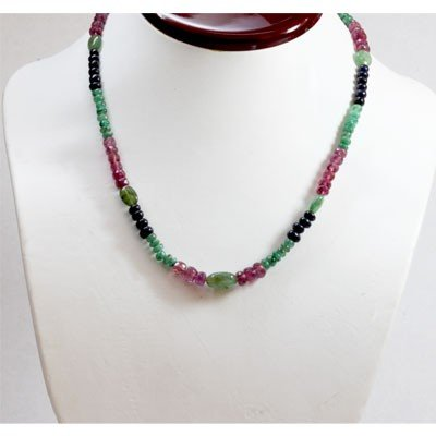 Natural 116.93 ctw Sapphire Ruby Emerald Bead Necklace
