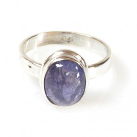Natural Tanzanite 4.09g Oval Ring  .925 Sterling Silver