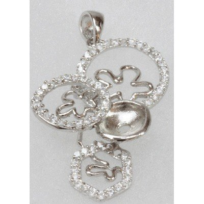 Natural 4.28g CZ Pendant .925 Sterling Silver