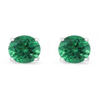 Genuine 1.60 ctw Emerald Stud Earring 14k 0.86g