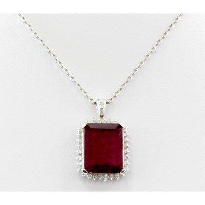 Genuine 12.78ctw Rubellite Diamond Pendant 14k W/Y Gold - 2
