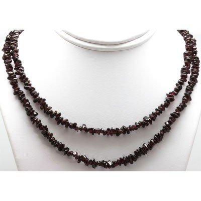 "Natural Garnet 34"" inches Single Row Necklace no clasp"