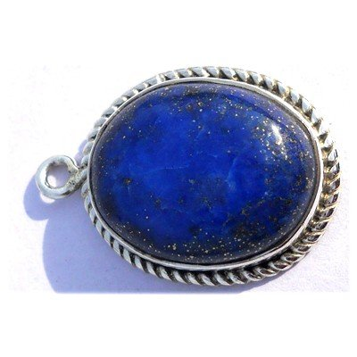 Natural 19.25 ctw Lapis Oval .925 Sterling Pendant