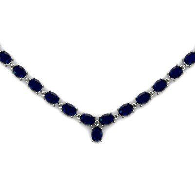 Natural Sapphire 63.55ctw Oval Necklace .925 Sterling