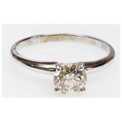 1.04 ctw Certified Diamond 14k Solitair Ring Round SI-2