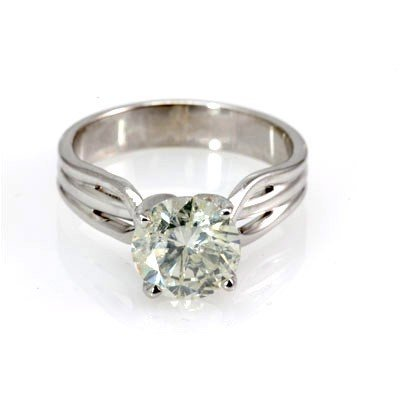 Genuine Solitaire Ring 2.26 ctw & Diamond Ring 14KTGold
