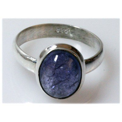 Natural 3.74 g Tanzanite Oval .925 Sterling Silver Ring
