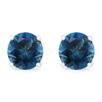 Genuine 3.20 ctw Sapphire Stud Earring 14k 0.96g