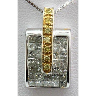 Genuine 0.92 ctw Diamond Invisible Pendant 14k 2-T Gold
