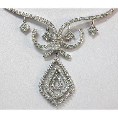 Genuine 3.68 ctw Diamond Necklace 14kt White Gold