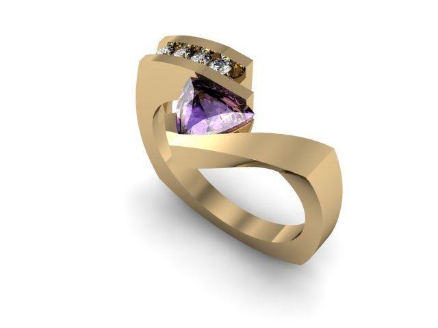 Genuine 0.72 ctw Tanzanite Trillion Diamond Ring 10k