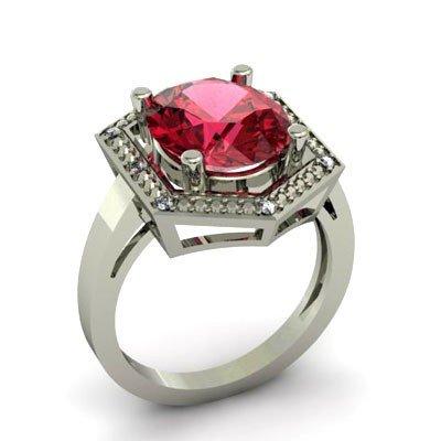 Genuine 5.08 ctw Garnet Diamond Ring W/Y Gold 14kt