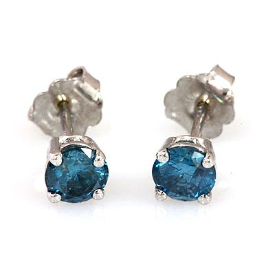 Genuine 0.90 ctw Blue Diamond Stud Earring 14k