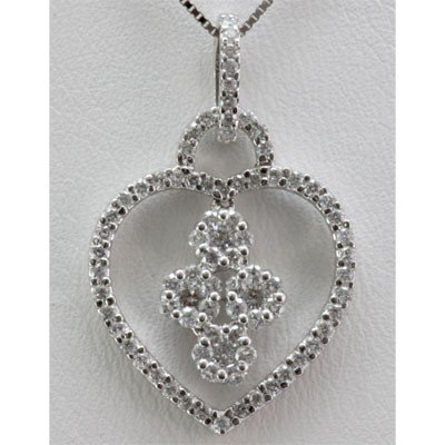 Genuine 0.80 ctw Round Diamond Heart Pendant 14k