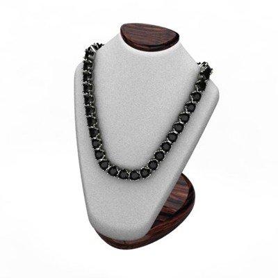 Black Diamond Necklace 32.0 ctw 14kt W/Y Gold