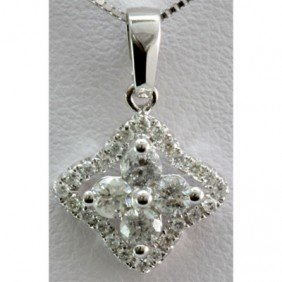 Genuine 0.50 Ctw Diamond Star Heart Pendant 14k W Gold