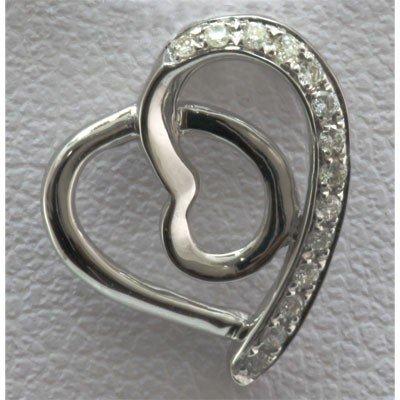 Genuine 0.07 ctw Diamond Heart Pendant 14k W Gold