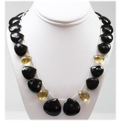 433.32 ctw Black Onyx & Citrine Drops Bead Necklace