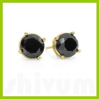 Natural 3.0 ctw Black Diamond Stud Earrings 14kt
