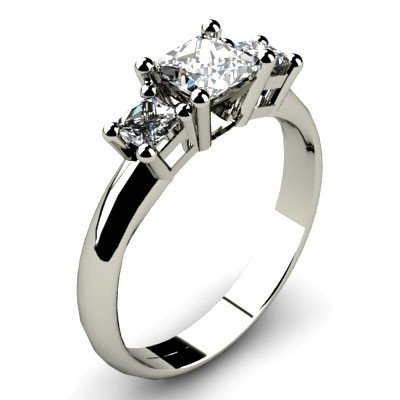 1.00 ct Princess cut Three Stone Diamond Ring, G-H,SI-2