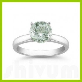 Genuine 2.0 ctw Green Amethyst Solitaire Ring 14kt