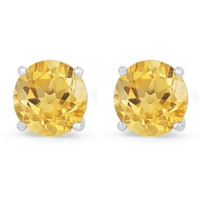 Genuine 1.40 ctw Citrine Stud Earring 14k 0.86g