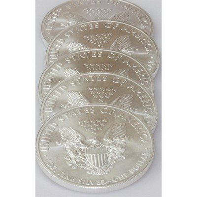 Natural 5 Oz Coin Fine Silver USA (5) One Dollar 2011