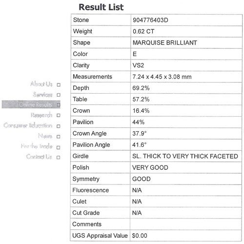 EGL Certified 0.62 ct MARQUISE BRILLIANT  E, VS2 - 2