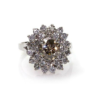 Natural 3.21 ctw Chocolate & Diamond Cluster Ring