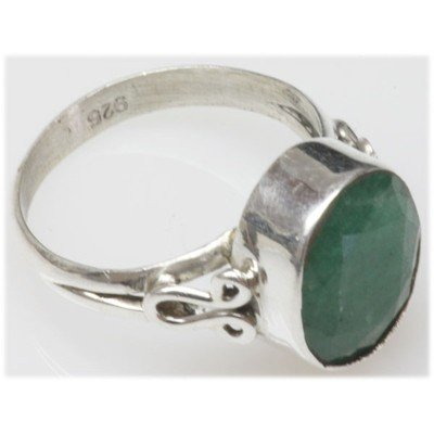 Natural 4.06 g Emerald Oval .925 Sterling Silver Ring