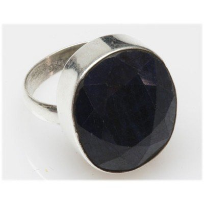 Natural 7.31 g Sapphire Oval .925 Sterling Silver Ring