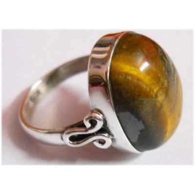 Natural 4.54g Tiger Oval .925 Sterling Silver Ring