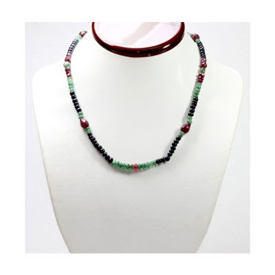 Natural 125.82 ctw Emerald Ruby Sapphire Bead Necklace