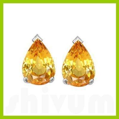 Genuine 2.01  ctw 8x6mm Yellow Sapphire Pear Cut Earrin