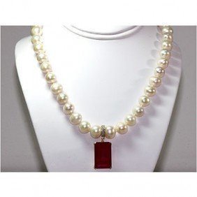 Genuine 29.77 Ruby & Diamond Necklace Freshwater Pearl
