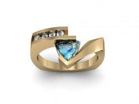 Genuine 0.62 Ctw Aqua Marine Trillion Diamond Ring 10k