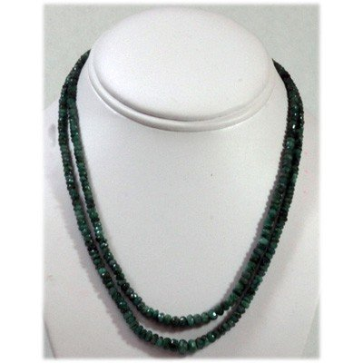 Natural 120.48ctw Emerald Round Beads 2 Rows Necklace