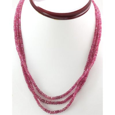 Natural Ruby Round  Beads171.77 cts. Necklace w/brass c