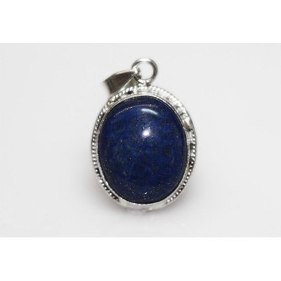 NATURAL 4.90 GRAMS LAPIS OVAL PENDANT .925 STERLING SIL
