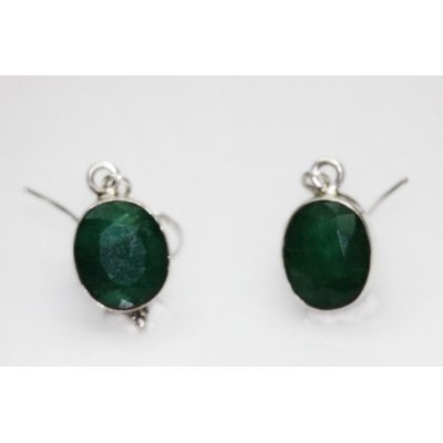 NATURAL 3.43 GRAMS EMERALD OVAL EARRINGS .925 STERLING